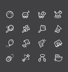 Baby toys white icon set on black background vector