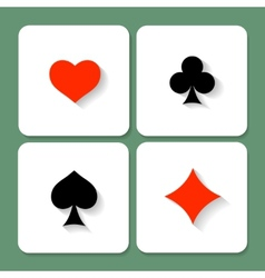 Set of playing card symbols with shadows vector