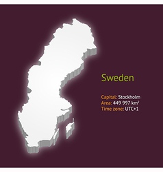 3d map of sweden vector