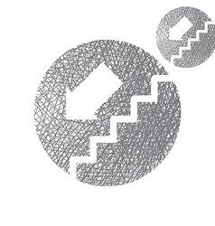 Stairs down simple single color icon isolated on vector