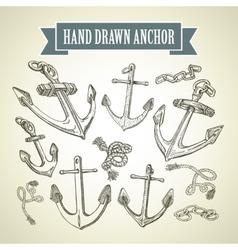 Hand drawn anchor set of vector