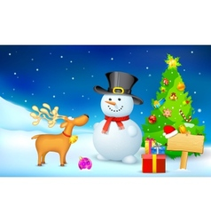 Snowman and reindeer in christmas night vector