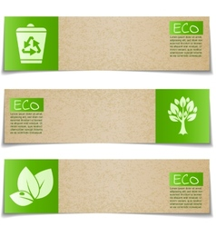Eco banners with green signs on white background vector