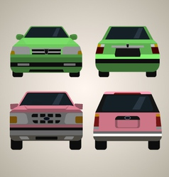Flat cars front and back vector