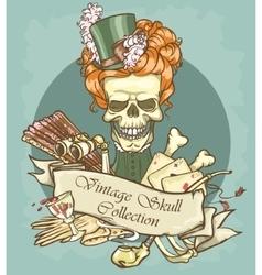 Victorian era skull label vector