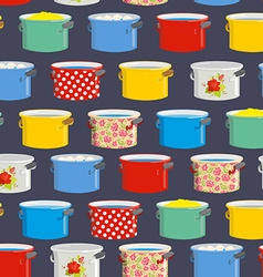 Colored pans seamless pattern for kitchen vector