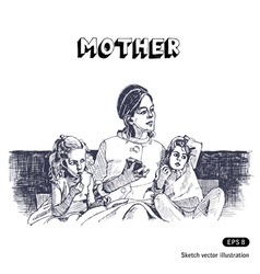 Mother with two children sitting on a sofa vector