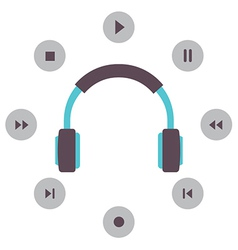 Headphone with radio buttons vector