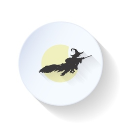 The witch flies on a background of the moon flat vector