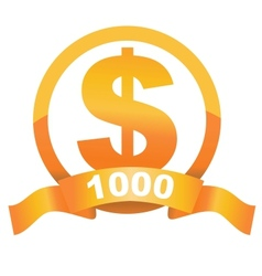 Currency sign of golden dollar vector