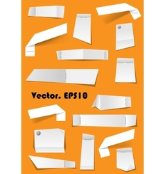 White paper notes and scraps attached with pins vector