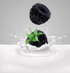 Blackberries with milk vector