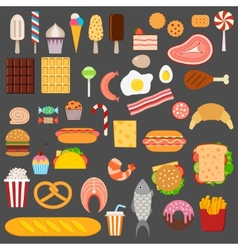 Icons of sweets fast food meat and fish vector