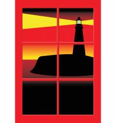 Lighthouse at sunset vector
