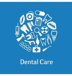 Dental icons in circle vector