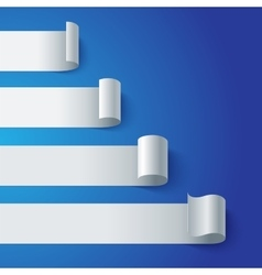 Curled blank paper stripe banners chart on blue vector