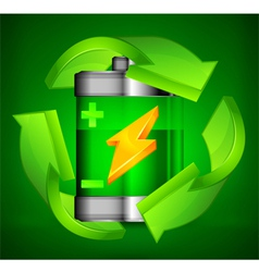 Battery recycling three arrows green background 10 vector