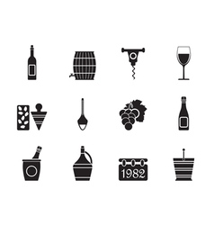 Silhouette wine icons vector