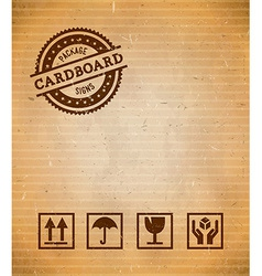Cardboard with package signs vector