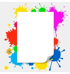 Blank paper on colored splashes background vector