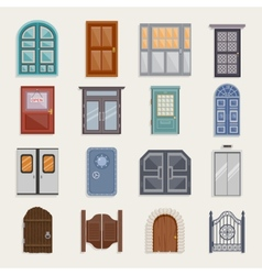 Door icons flat vector