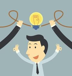 Businessman spark idea up vector