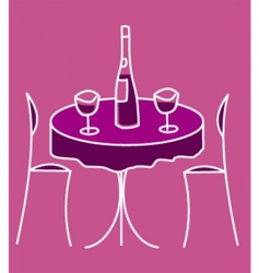 Cute restaurant table vector