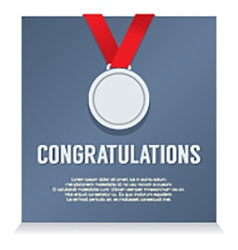 Silver medal with congratulations card vector