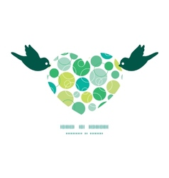 Abstract green circles birds holding heart vector