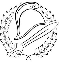Macedonian phrygian helmet with laurel wreath vector