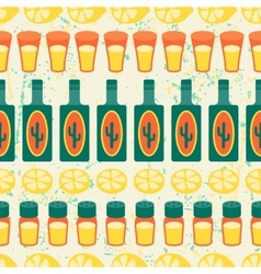 Mexican seamless pattern with tequila in native vector