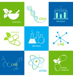 Pharmaceutical and lab icons vector