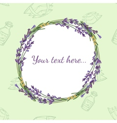 Floral frame with lavender vector
