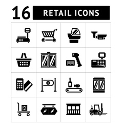 Set icons of retail and supermarket equipment vector