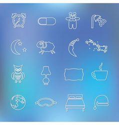 Sleep outline icons vector