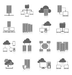 Hosting service black icons set vector