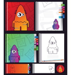 Education objects with monster vector
