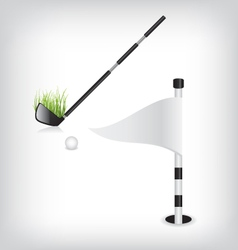 Golf stick and flag vector