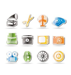 Simple retro business and office object icons vector