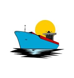Container ship cargo boat retro vector