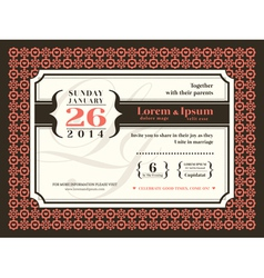 Wedding invitation background border frame vector