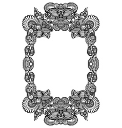 Black and white floral frame vector