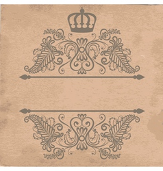 Old cardboard paper texture with royal frame vector
