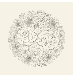 Hand drawn bouquet of roses vector