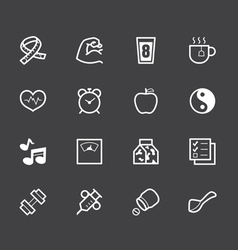 Healthy element white icon set 1 on black backgrou vector