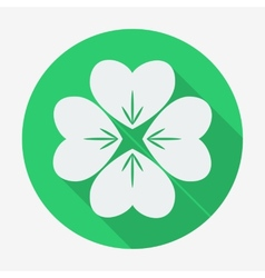 Flat style icon with long shadow four-leaf clover vector