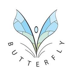 Logo blue wings develop vector