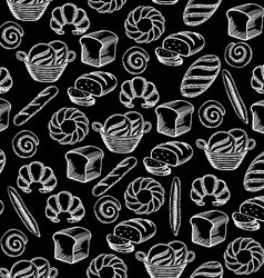 Seamless pattern background bakery package vector