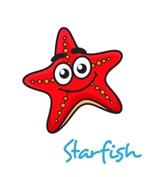 Cartoon red star fish with happy face vector