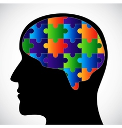 Silhouette with brain vector